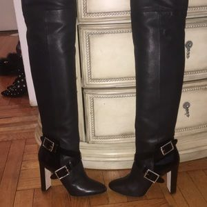Jimmy Choo Black Leather over the knee boots